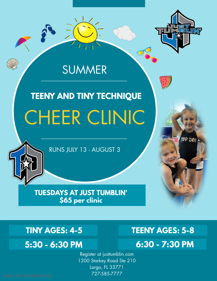 Read more about the article Summer Cheer Clinics for Younger Athletes at Just Tumblin' in LARGO!